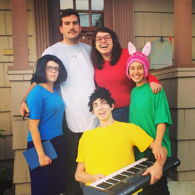 From L-R: Nicole Renna'16 as Tina, Eric Schnell'16 as Bob, Katelyn Hart'16 as Linda, Zoe Levine Sporer'16 as Louise, and Kyle Dybdal'16 as Jean!