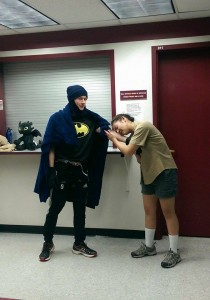 "David Raftrey'17 as what he called ""shitty Batman"" and Nigel"