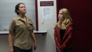 Paige Maney'16 as (now beardless) Nigel Thornberry, and Jacquie  as Buffy