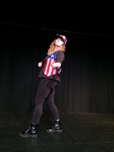 Michelle Leatherby'16 as one of the characters from the show!