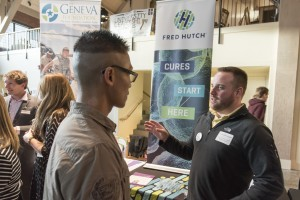 Students meet with business representatives during spring Career Fair '15