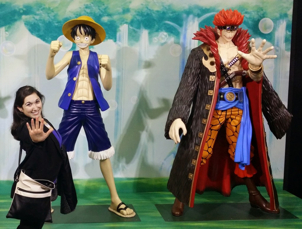 Anime statues at a OnePiece animation exhibit in Busan crop