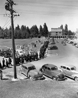 Academic Procession to Memorial Fieldhouse, Class of 1949