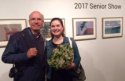 Katherine Etsell and her father, in front of her award winning work