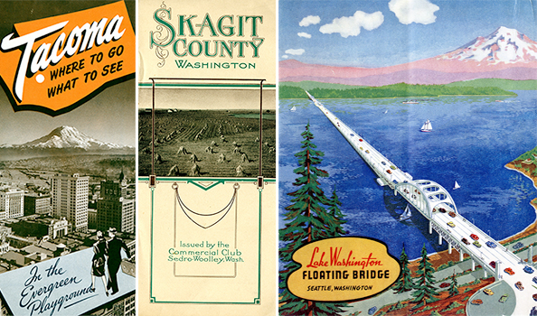 Images from left: 1.) This undated pamphlet highlights the great city of Tacoma and all it has to offer (with Mount Rainier looming in the distance, of course!). 2.) Being a Skagit County native, I loved seeing this pamphlet that was published by my hometown circa 1912! 3.)I love this image of the I-90 floating bridge. Published in 1940, this vibrant pamphlet emphasizes the structural feat of the floating bridge.