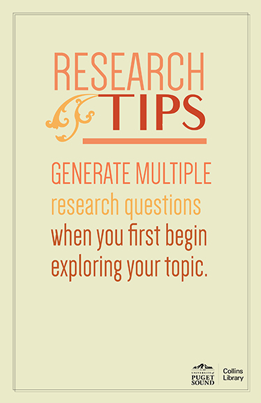Generate multiple research questions when you first begin exploring your topic.