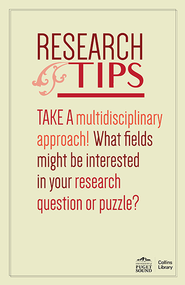 Take a multidisciplinary approach! What fields might be interested in your research question or puzzle?