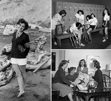 (From Left, top, bottom) 1.) Eunice Williams at Pacific Beach, 1951. 2.) Women's field hockey, 1948. Williams is on the far right. 3.) Eunice Williams '51 and friends, 1949. Williams is second from the right.