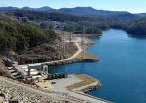 Jocassee Dam in South Carolina. It serves for hydroelectric power generation and flood control. Bad things happen if this baby blows.