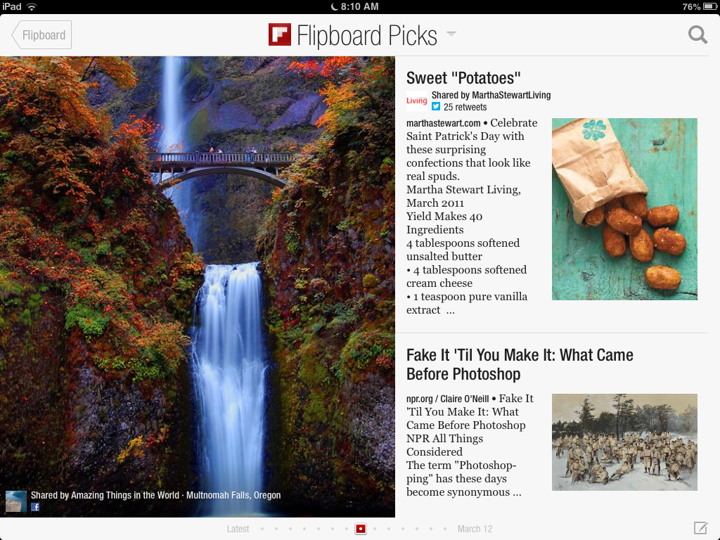 "Flipboard screenshot featuring three stories: An image of Mulnomah Falls, Oregon (left), ""Sweet 'Potatoes'"" (top right), ""Fake It 'Til You Make It: What Came Before Photoshop"" (bottom right)."