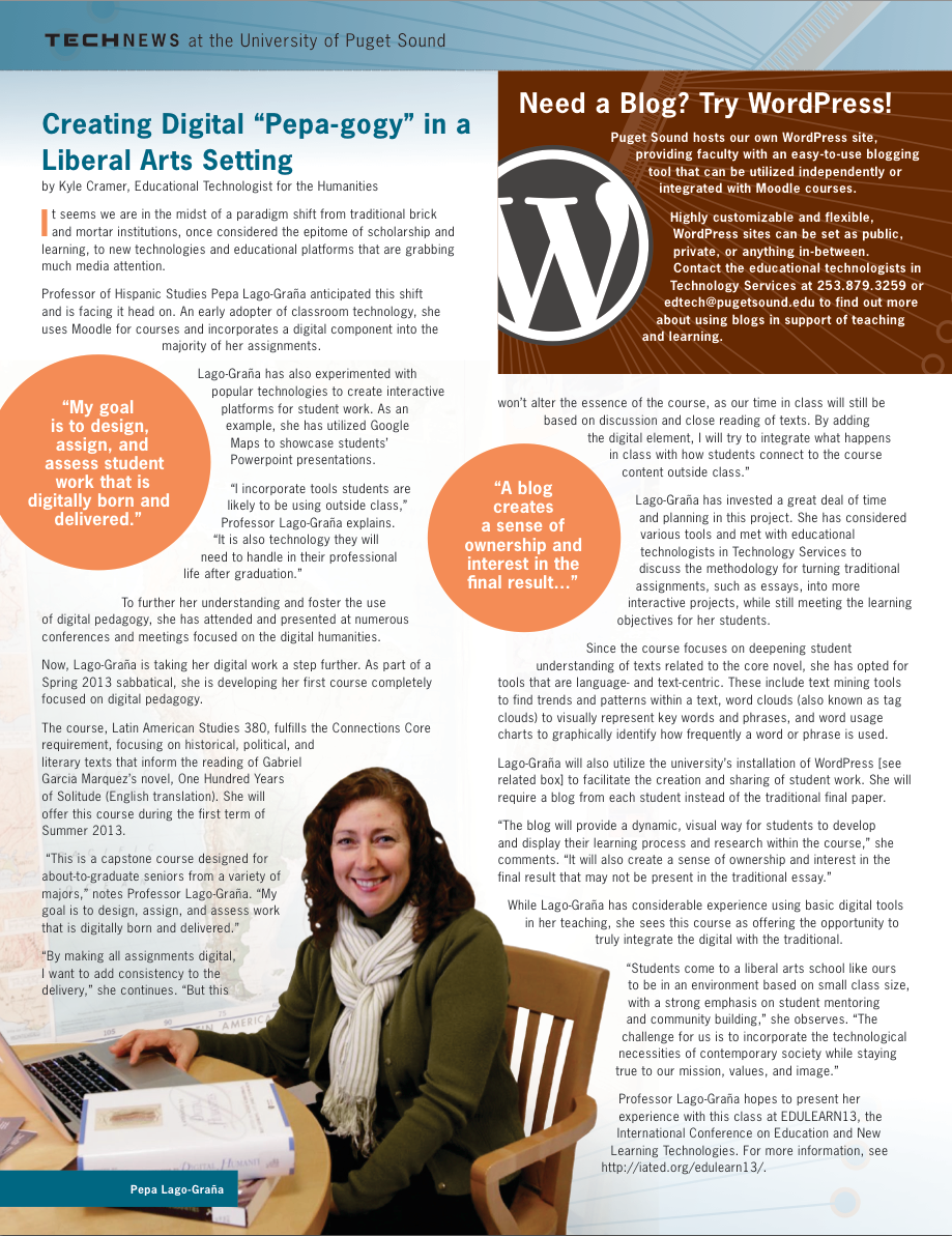 Image from Spring 2013's TechNews featuring Pepa Lago-Graña seated in her office using her laptop.