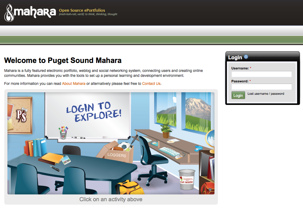 Screenshot of Mahara website