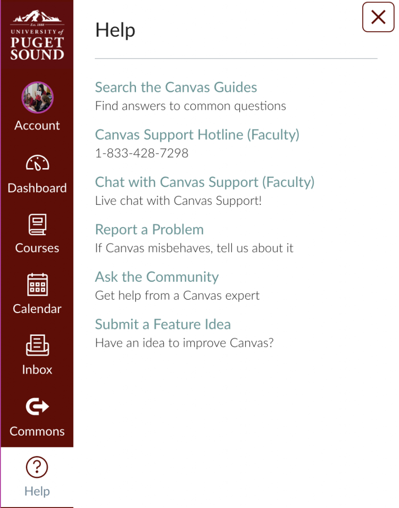 "Canvas Support is available by clicking on the ""Help"" button in the navigation menu."