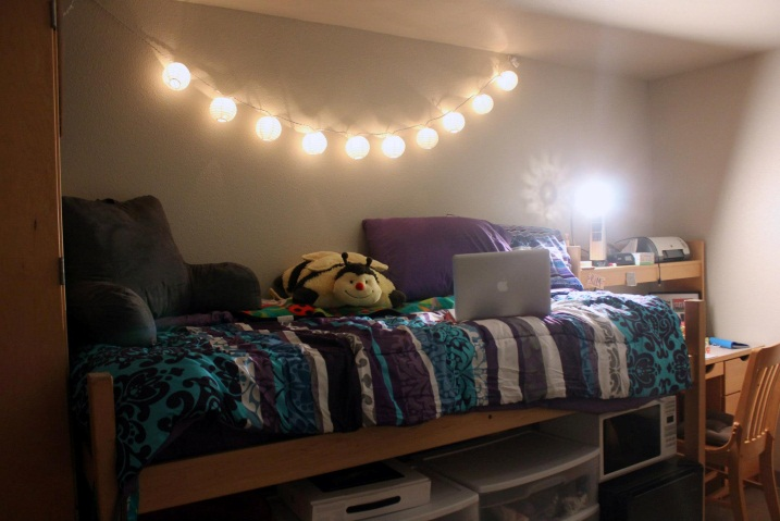 My half of the room on move-in day, fit with the purple bed spread that began my first friendship with the girl down the hall