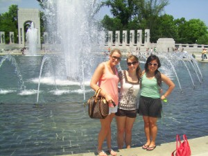 2 of my roommates and I at the WWII Memorial on Memorial Day