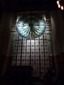 It's very reminiscent of Renaissance era churches, but made of small pieces of locally made glass.