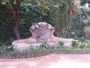 A fountain in the Garden near the Alhambra where we walked with our class... Picturesque