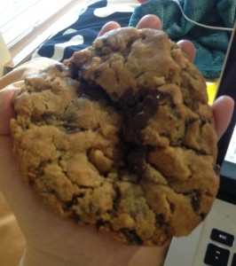 This is The Cookie in my hand.  For size reference.  That is The Cookie on my flat hand.