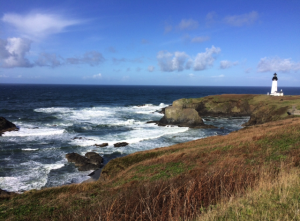 Yaquina Head Lighthouse in the distance.  We climbed to the top of it, where we then engaged in a furious trivia battle to win buttons.  My family is wild.