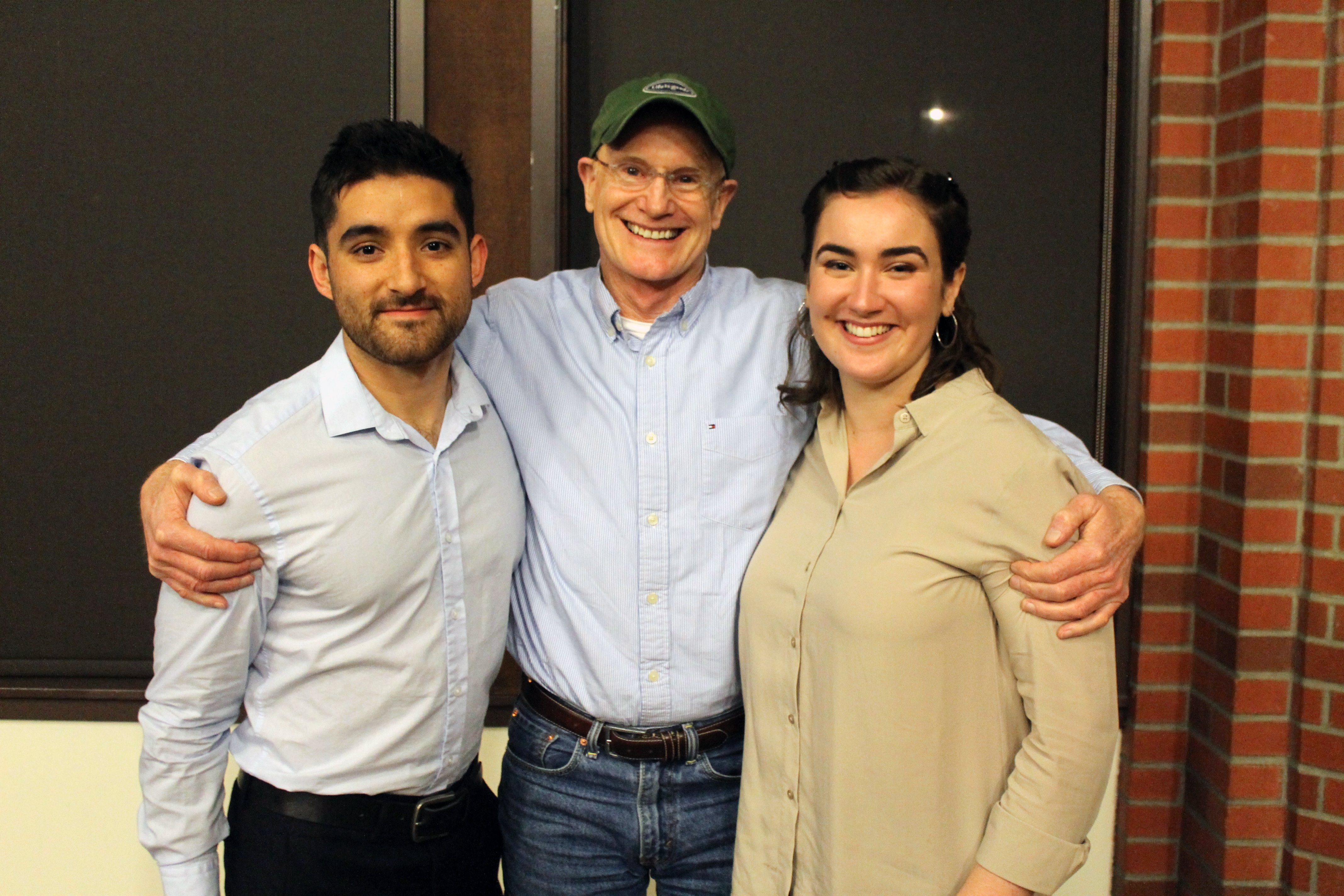 Kabir Jensen'15 and Kristen Kerbavas'15, this year's two seniors who have been in the Humanities Program since their freshman year, with Prof Erving. So sweet!