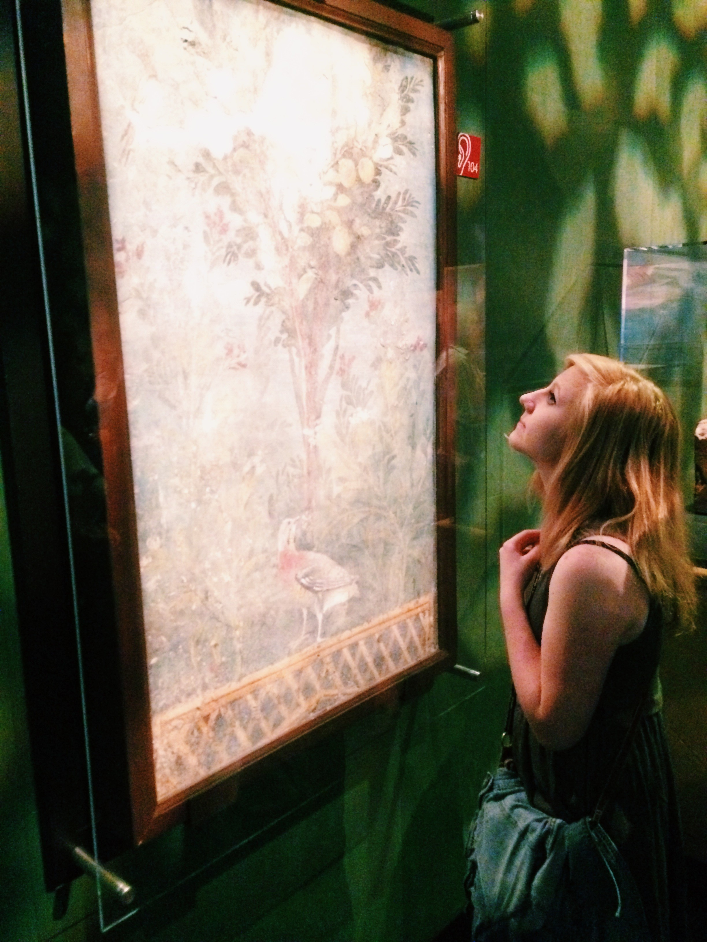 Marissa Irish'16 admiring a fresco fragment