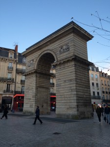 This is either a tiny(er) Arc de Triomphe or one of the last remains of the medieval wall that surrounded Dijon; it is possible that I misunderstood the tour guide.