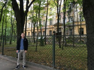 Outside a fenced off building that appeared to be the former location of a soviet physics and science university.