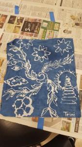 My finished batik design, dyed in indigo.