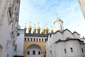 Cathedrals inside the Kremlin in Moscow, Russia.