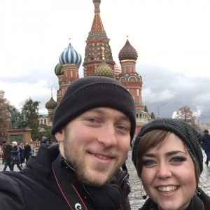 Tay & I in Red Square outside St. Basil's Cathedral in Moscow, Russia.