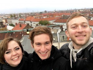 Jakob, Tay, and I at the secret rooftop bar in Berlin, Germany.
