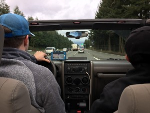 Driving down the highway with the roof off.