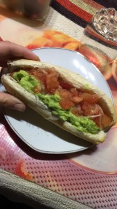 Completos - hot dogs served with avocado, tomato, onions, and mayo. A traditional Chilean food