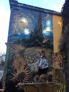 A mural on the streets of Valparaiso.
